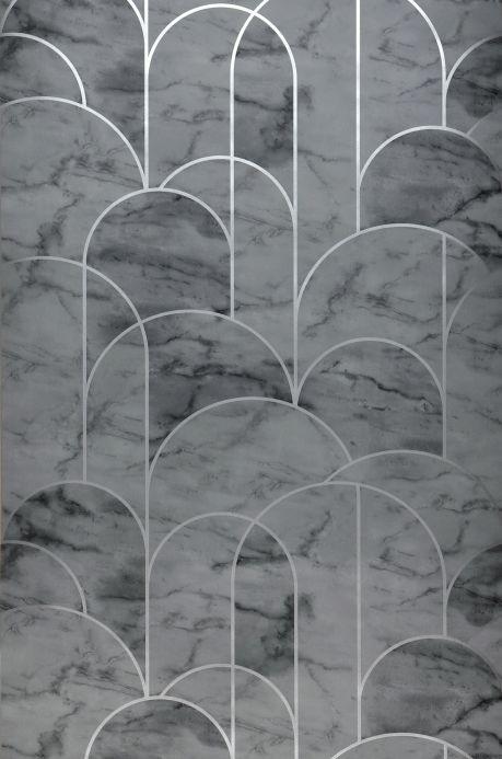 Papel de parede Art Déco Papel de parede Zania cinza escuro Largura do rolo