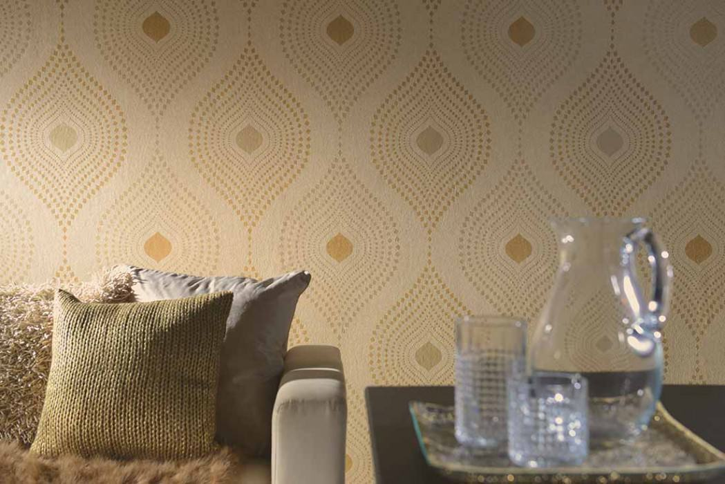 Wallpaper Nereus Shimmering Modern damask Light ivory glitter Gold Light grey beige