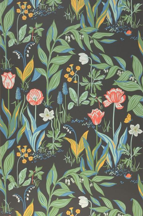 Papier peint Charlotte Mat Fleurs Papillons Escargot Gris ardoise Bleu Jaune Blanc gris Vert Rouge