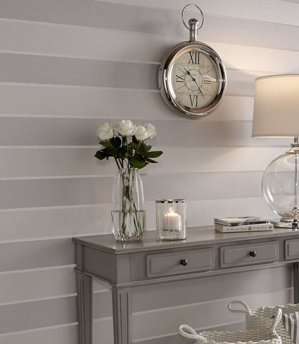 Wallpaper Hiram Shimmering Stripes Cream pearl lustre Pearl light grey White shimmer