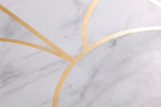 Wallpaper Zania Shimmering pattern Matt base surface Art Deco Bends Grey Grey white Pearl gold