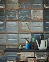 Wallpaper Container Matt Old metal containers Dark grey Grey blue Red orange