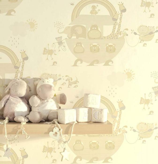 Carta da parati Cleo Opaco Animali Bianco crema Beige marrognolo pallido Crema
