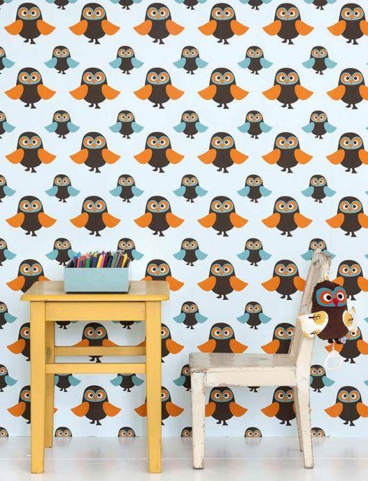 Archiv Papier peint Owls orange Vue pièce