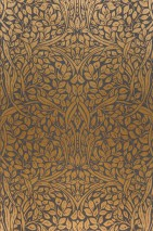 Wallpaper Cortona Hand printed look Matt Leaves Art nouveau Slate grey  Matt gold