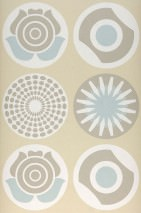 Wallpaper Lenno Matt Retro elements Light beige Beige grey Cream Mint turquoise