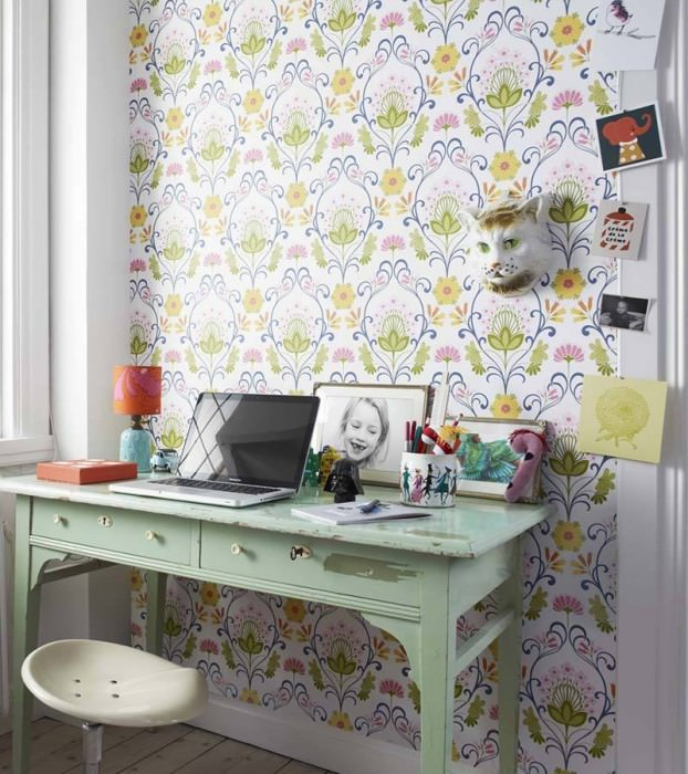 Wallpaper Anika Matt Flowers Floral damask White Blue Yellow Light green Pink Rose