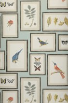 Wallpaper Jara Matt Leaves Flowers Butterflies Birds Pastel turquoise Azure blue Grey white Coral red Olive yellow Black grey Silky grey