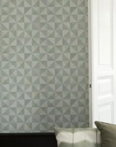 Wallpaper Pelias Matt Geometrical elements Pale grey green Pale green Light grey Mint grey