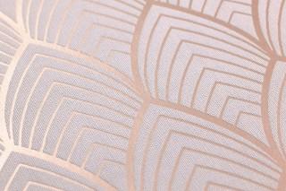 Papel pintado Soana Patrón mate Superficie base brillante Art Deco Curvas Palo de rosa Rosa pálido