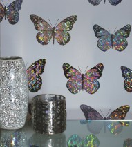 Wallpaper Jolina Hologram effect Shiny pattern Matt base surface Butterflies Grey white Black grey Silver metallic
