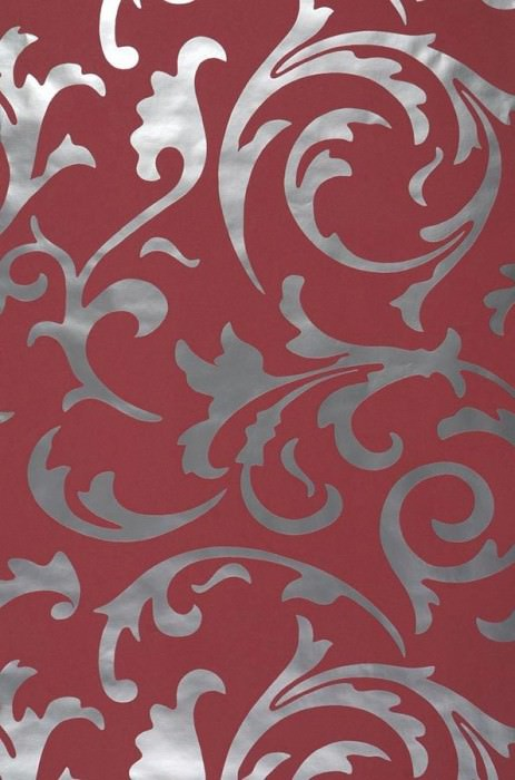 Wallpaper Medusa Shiny pattern Matt base surface Baroque elements Wine red Silver lustre