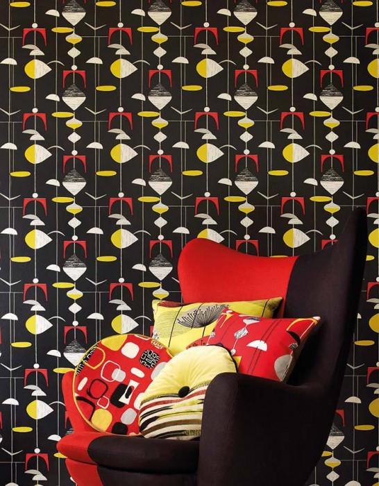 Wallpaper Tara Matt Mobiles Black Grey Grey white Red Lemon yellow