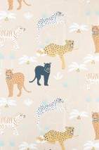 Wallpaper Black panther Hand printed look Matt Leopards Leopards Palm trees Panthers Tigers Light beige-red Anthracite grey Yellow orange Pastel yellow Patina green White