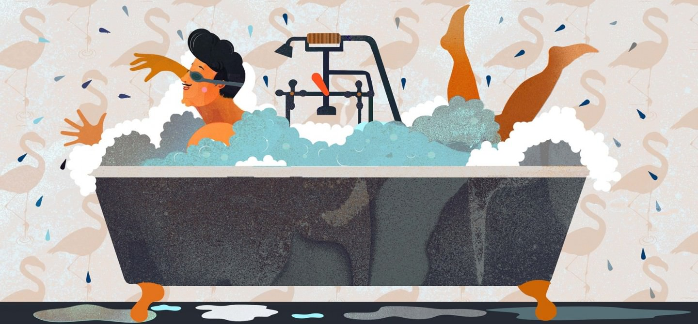 Blog lookbook papier peint des ann es 70 for Papier peint pour salle de bain