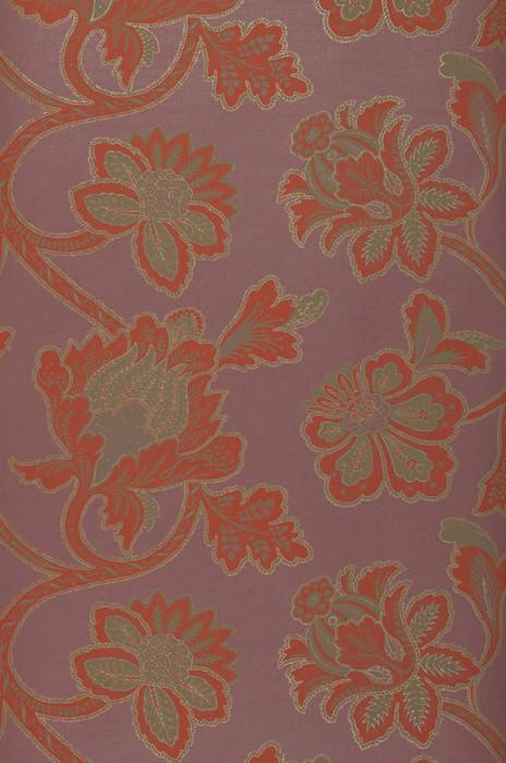 Papel pintado Mitra Mate Damasco floral Violeta pastel Gris beige Beige perla Rojo