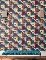 Wallpaper Nikita Matt Triangles Graphic elements Rhombuses Trapezoids Blue Curry yellow Mint turquoise Red Violet