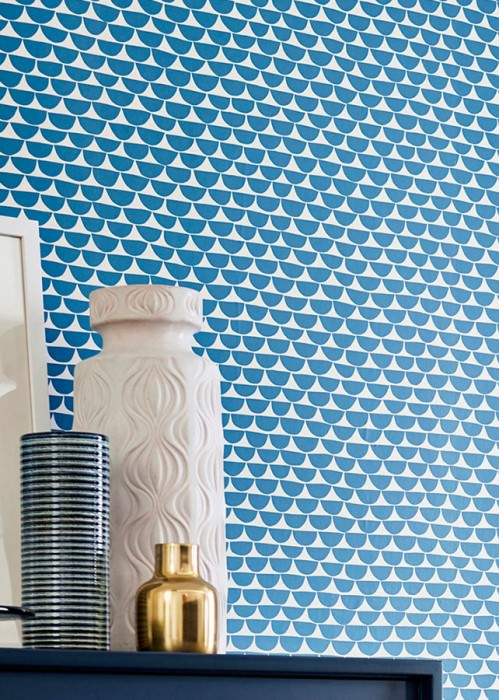 Wallpaper Darja Matt Graphic elements Cream Azure blue