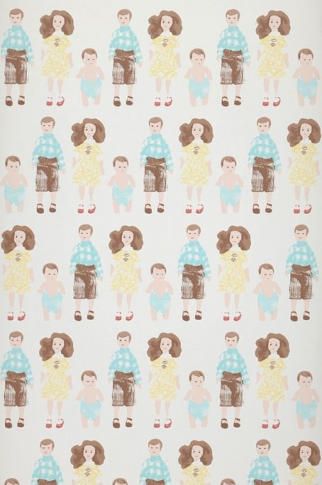 Wallpaper Dollhouse family Matt People White Pale brown Pale yellow Pastel turquoise Rosewood