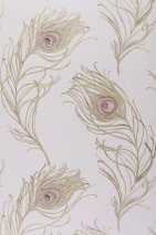 Wallpaper Serapis Shimmering pattern Matt base surface Peacock feathers Light lavender Gold Pastel violet