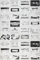 Wallpaper Stereo Nostalgia Matt Music Tapes Cream Black