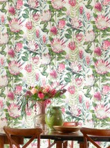 Wallpaper Paloma Matt Flowers White Ivory Heather violet Shades of green Light pink Red violet