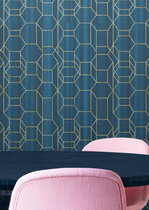 Graphic wallpaper Wallpaper Wigar shades of blue Room View