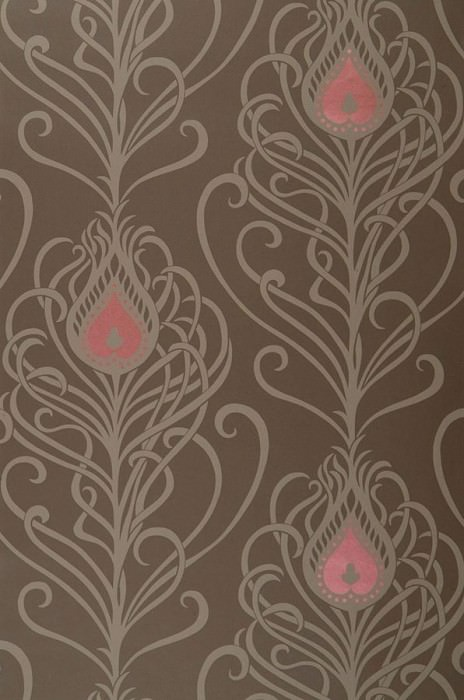 Wallpaper Elektra Matt Peacock feathers Brown Antique pink lustre Beige brown