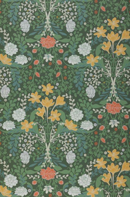 Papel de parede floral Papel de parede Kristina verde escuro Bahnbreite