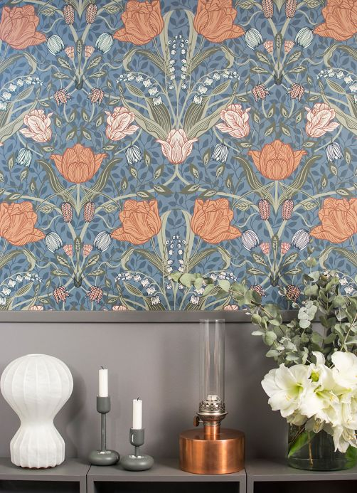 Art Nouveau Wallpaper Wallpaper Anita pigeon blue Room View