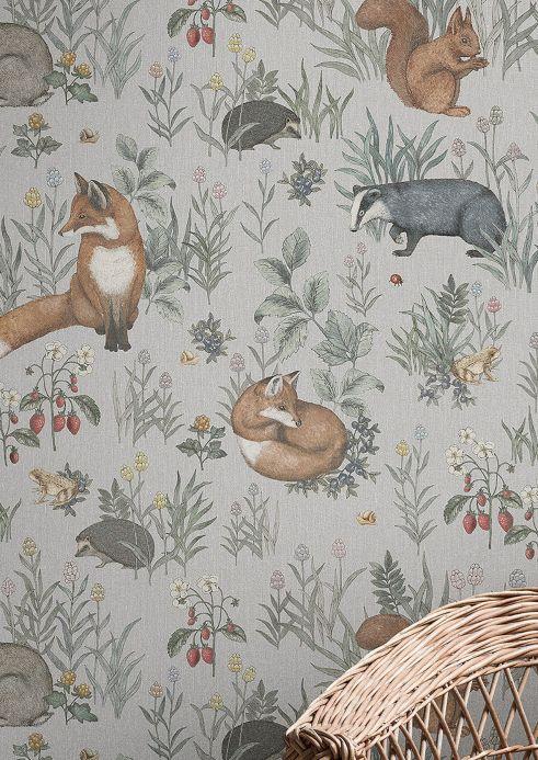 Tiermotiv Tapeten Wandbild Baga Hellgrau Raumansicht