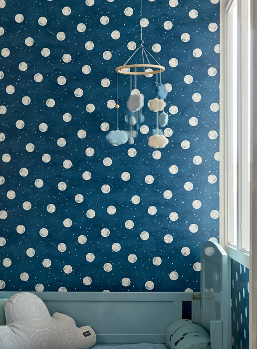 Wallpaper Antonin Matt Moon Starry sky Sapphire blue Cream Cream shimmer Pearl blue