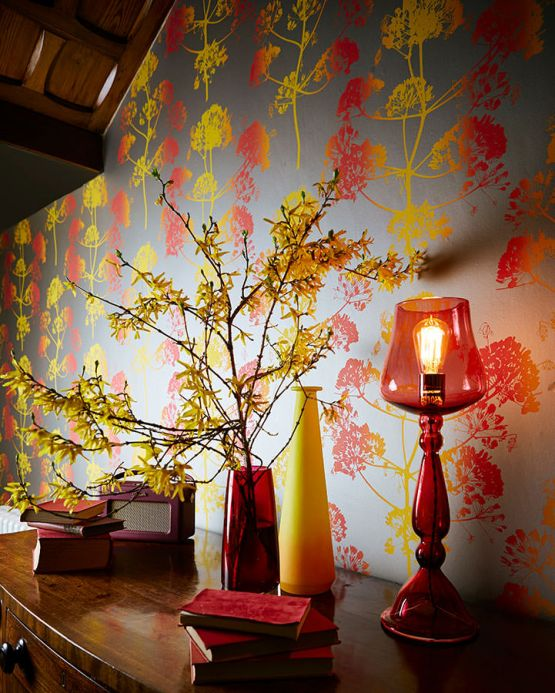 Papel pintado floral Papel pintado Emorie amarillo Ver habitación