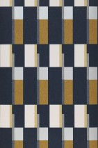 Wallpaper Haldis Matt Geometrical elements Rectangles Black blue Cream Grey Ochre yellow Pearl light grey