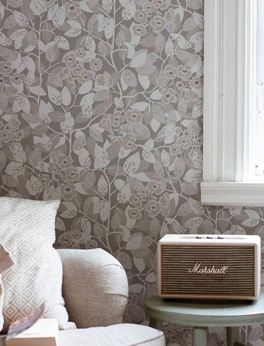 Papel de parede floral Papel de parede Hedera cinza claro Ver ambiente