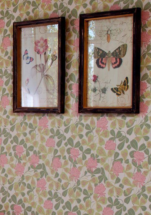 Papier peint rose Papier peint Ludivine rosé clair Vue pièce