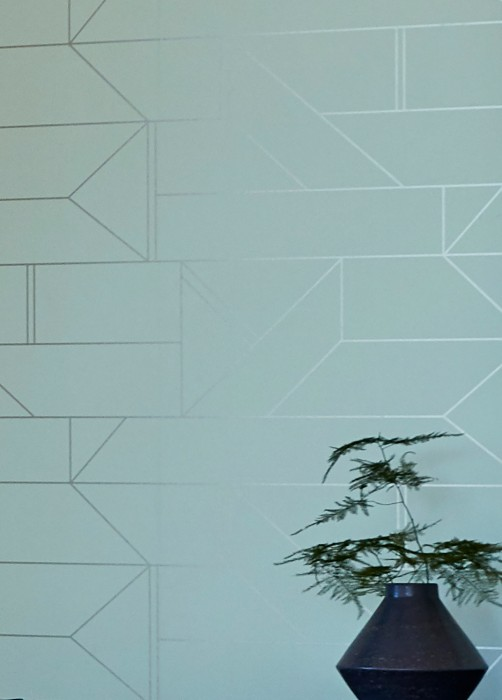 Wallpaper Elmi Shimmering pattern Matt base surface Graphic elements White blue White gold shimmer