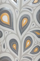 Wallpaper Celestia Matt Retro elements Stylised leaves Light beige grey Beige grey Cream Pastel yellow shimmer Pearl dark grey White