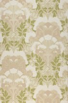 Wallpaper Enna Hand printed look Matt Leaves Blossoms Grey beige Fern green Green-beige shimmer Light yellow grey