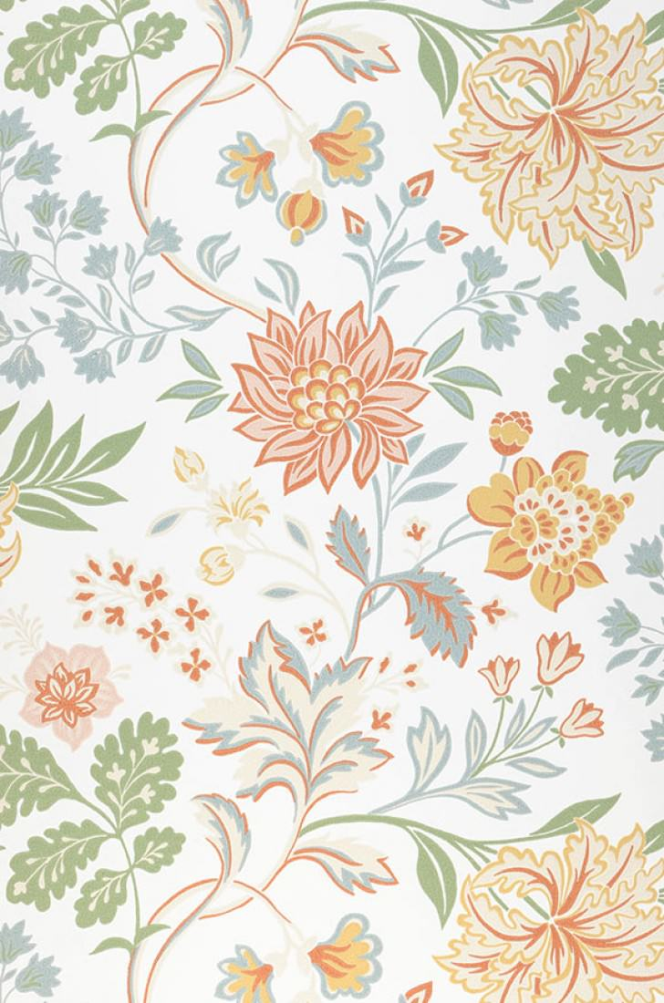 Wallpaper Ebba Cream Green Green Blue Light Ivory Red Orange