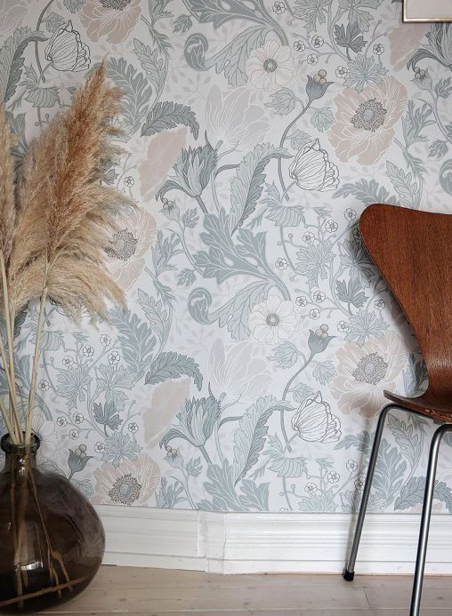 Floral Wallpaper Wallpaper Soria grey white Room View