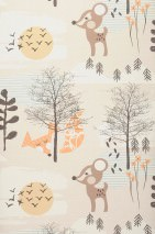 Wallpaper Enake Matt Trees Flowers Foxes Deer Cream Light brown beige Pale brown Grey brown Pastel orange Pastel turquoise