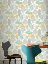 Wallpaper Lilou Matt Retro design Stylised trees Stylised leaves White Curry yellow Grey Mint turquoise