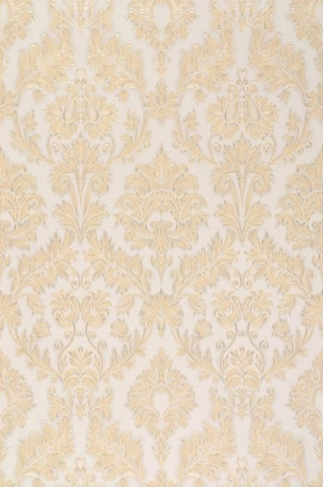 Wallpaper Leonore Shimmering pattern Matt base surface Baroque damask Light ivory Gold Silver