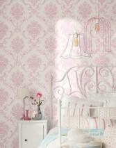 Papier peint Emmeline Mat Damassé floral Blanc crème Rosé pastel