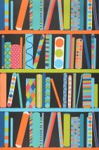 Wallpaper Ralo Matt Bookshelf Black Blue Green Orange White