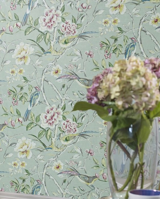 Wallpaper Fatima Hand printed look Matt Lotus branches Birds Green white Antique pink Azure blue Brown grey Grey white Green beige