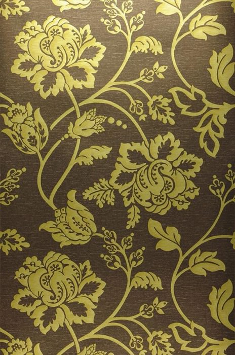 Wallpaper Ninkasi Metallic effect Matt base surface Stylised flowers Dark brown Green yellow metallic
