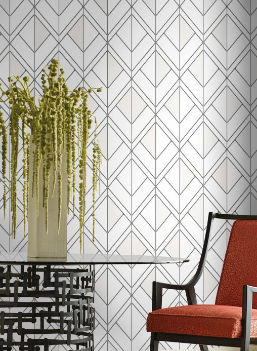 Geometric Wallpaper Wallpaper Stromboli white Room View