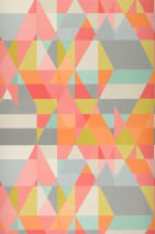 Wallpaper Zewana Matt Geometrical elements Antique pink Yellow green Grey Grey white Orange Pastel turquoise